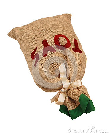Father Christmas s hessian toy sack tied with a ribbon lying fla