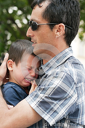 Father with crying child