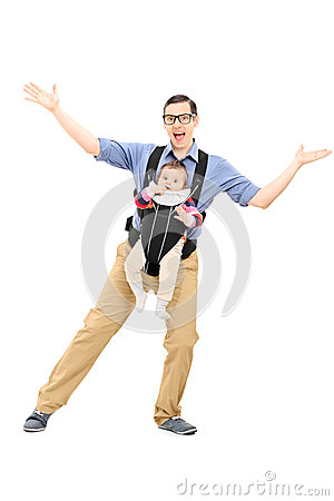 Free Father Dancing And Carrying His Baby Daughter Stock Photos - 40686933