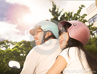 Father with daughter on the bike