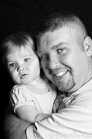 Father and Daughter, black and white