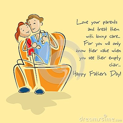 Father and daughter in Father's Day background