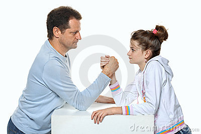Father and daughter relations wrestling in studio