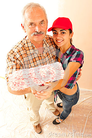 Father and daughter renovating home