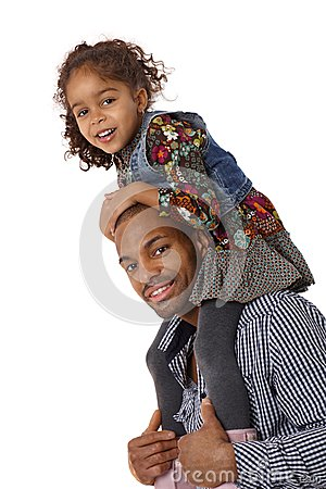 Father and daughter shoulder ride smiling