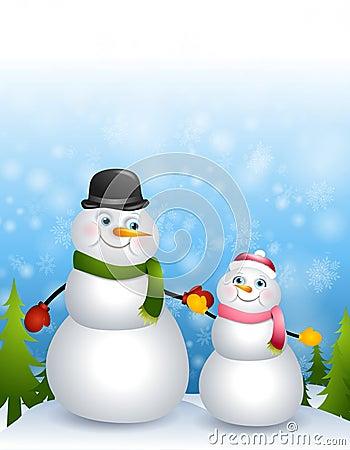 Father Daughter Snowmen