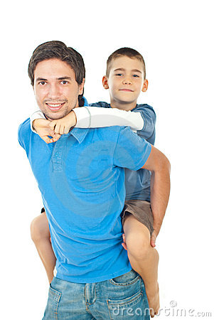Father giving piggyback to his son