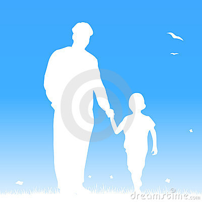 Father and his child by hand