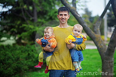Father with his twins