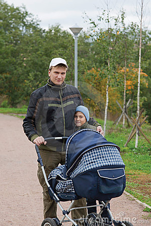 Father with kids in the park