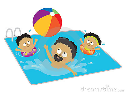 Father and kids playing in a pool