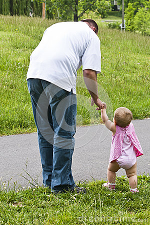 Father Leads Daughter