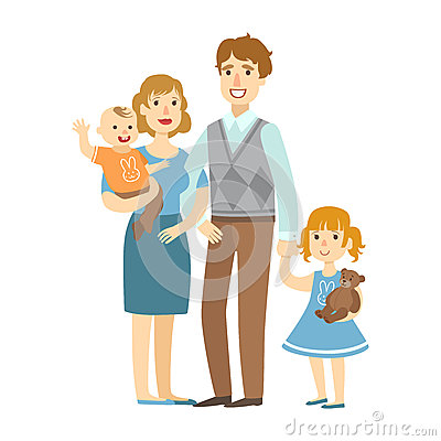 Father, Mother, Baby Boy And Little Daughter,, Illustration From Happy Loving Families Series Vector Illustration