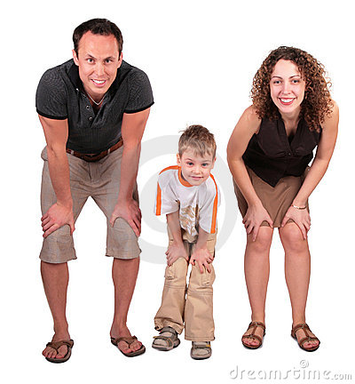 Father, mother and son look having bent down