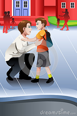 Free Father Picks Up His Son From School Royalty Free Stock Photography - 35168787