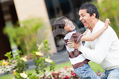 Father playing with his son