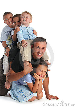 Free Father Plays With Four Children Stock Images - 7375094