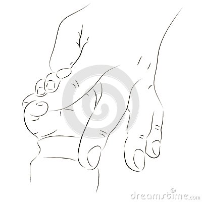 Father s and baby s hands