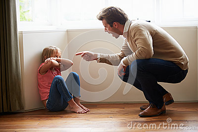 Father Shouting At Young Daughter