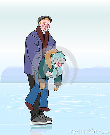 Free Father Skating With His Son In His Hands. Stock Image - 72950711