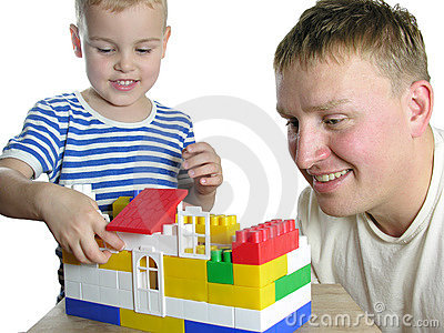 Father with son build house