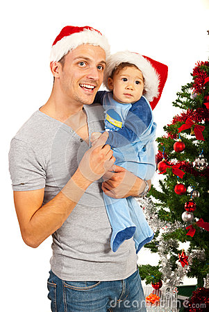 Father and son celebrate Christmas