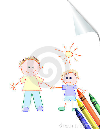 Father and Son Child s Drawing