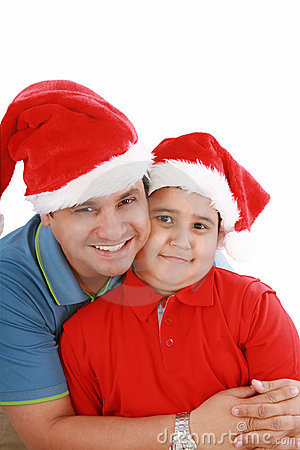Father and son with Christmas hats