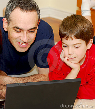 Free Father Son Computer Royalty Free Stock Photography - 1627007