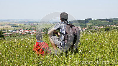 Father and son in countryside