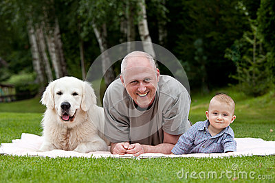 Father with son and dog