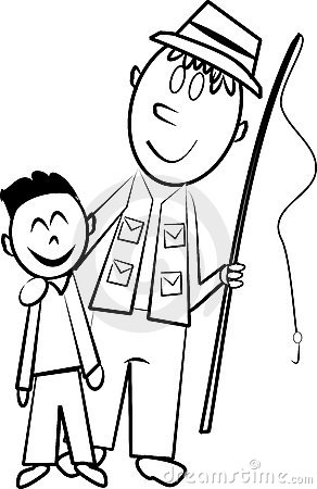 Father and son fishingOnly Father Clipart Black And White