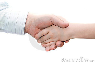 Father and son handshake