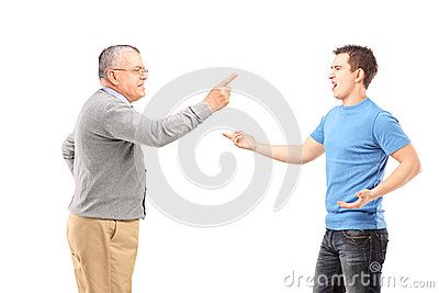 Father and son having an argument