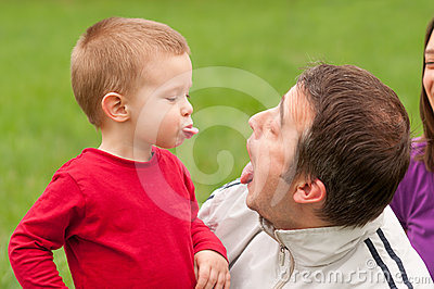 Father and son having fun outdoor