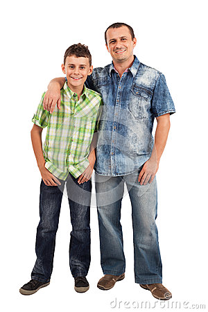 Father and son, isolated on white