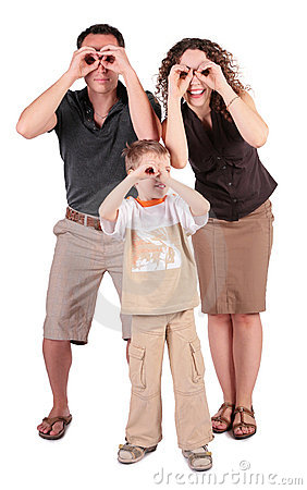 Father,  son and mother look in field-glasses from