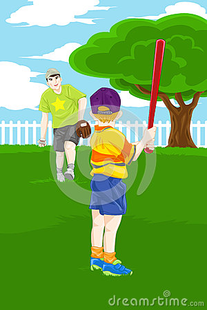 Father son playing baseball