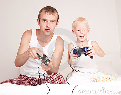 Father and son playing games