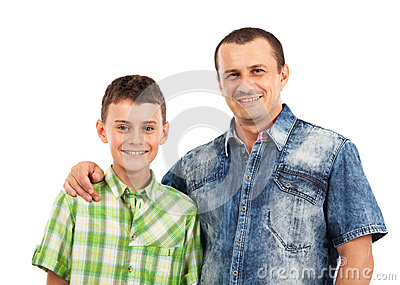 Father and son posing together in studio