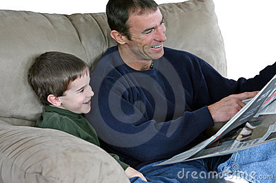 Father and Son Reading Paper