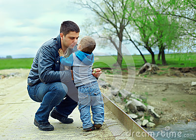 Father and son relationships. countryside