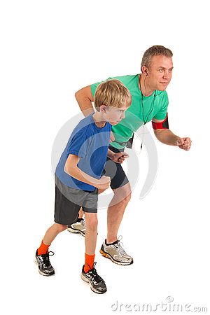 Father and son running