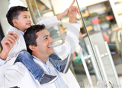 Father and son at the shopping center