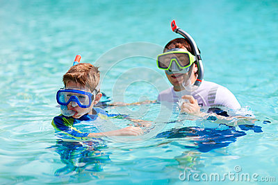 Father and son snorkeling