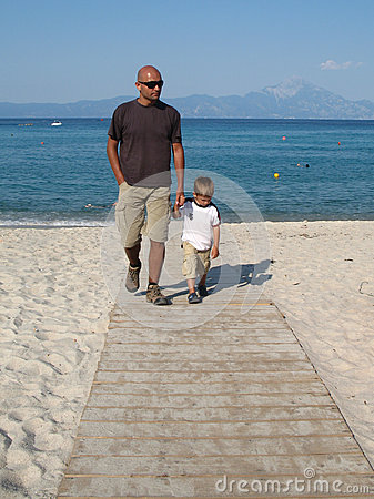 Father and son on a walk