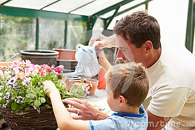Father And Son Watering Plants In Greenhouse