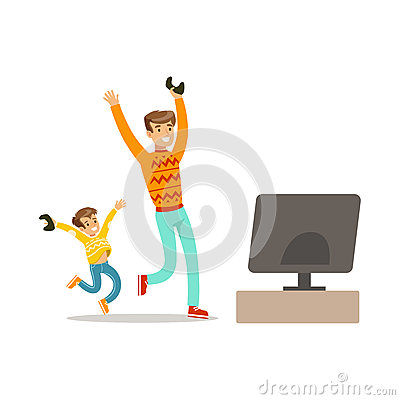 Father And Son Winning Console Game,Part Of Happy Gamers Enjoying Playing Video Game, People Indoors Having Fun With Vector Illustration
