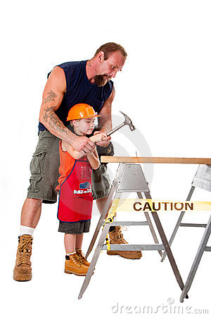 Father teaching son construction