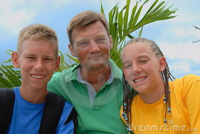 Father with teens outdoors